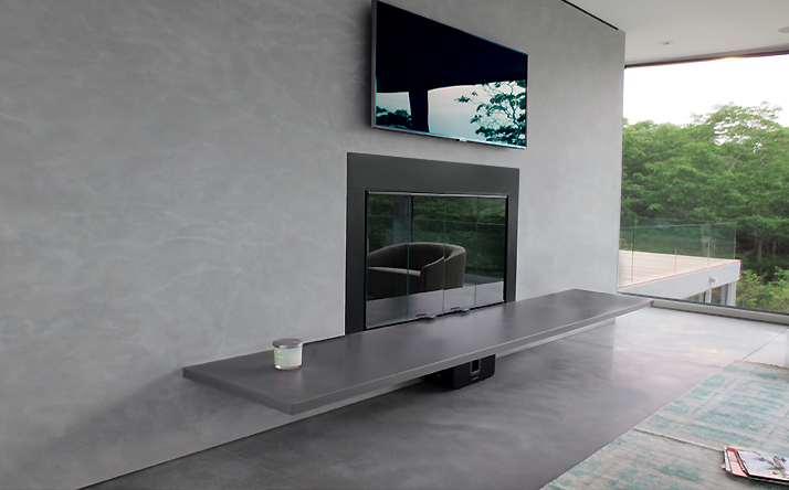 custom concrete fireplace surrounds