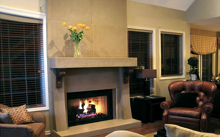 Trueform Concrete Custom Concrete fireplace surrounds. Perfect for the home or business