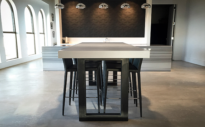 Custom Concrete Kitchen Dining Tables Trueform - Concrete pedestal dining table