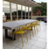 Outdoor custom zen concrete dining table in light gray by Trueform